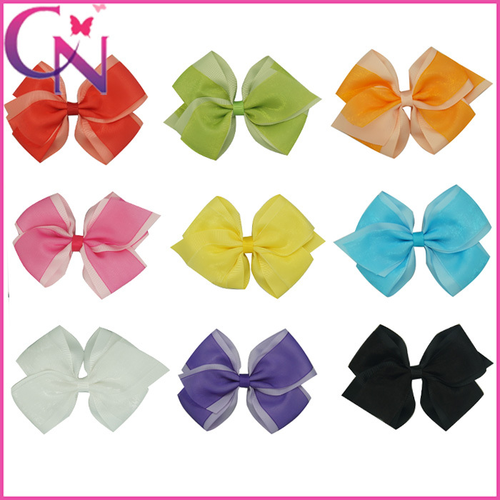 """Hot Sale 30pcs/lot 5.5"""" Baby Girl Boutique Hair Bows Grosgrain& Organza Hair Bow With Clip Free Shipping CNHBW-1307289(China (Mainland))"""