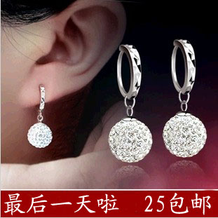 Cuicanduomu ear buckle the trend of fashion sparkling rhinestone earrings 925 pure silver earring silver drop earring(China (Mainland))
