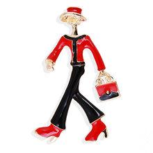 Fashion Merah Gadis Bros untuk Wanita Tas Pin Warna Gaun Mantel Perhiasan Hadiah(China)