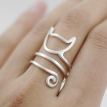 Adjustable Pretty REAL.925 Sterling Silver Twine Cat Ring Lengthy Tail Wrap Ring Younger Woman Jewellery (Dimension 6.5-6.75)GTLJ962