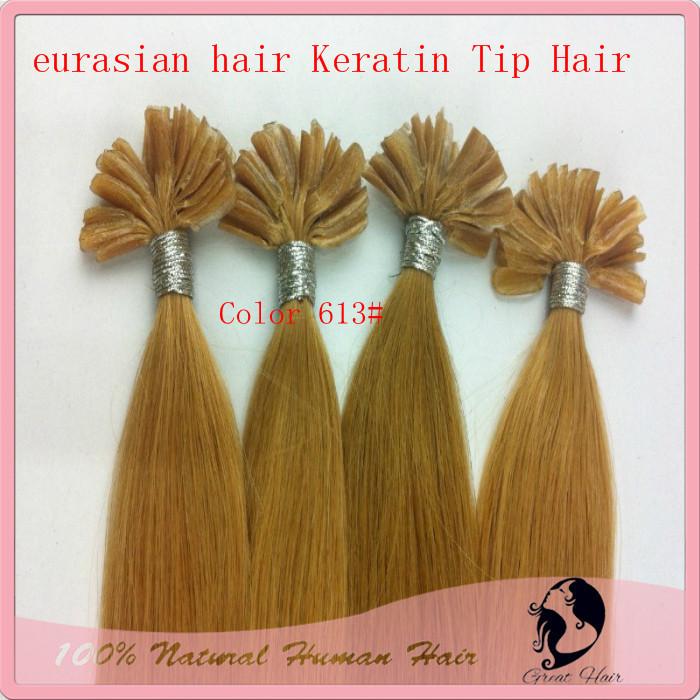 Bleach Blonde Natural Hair, Keratin Nail Stick Nail Tip Hair Extension Real Hair Accessories 100g/pack Color613# ,6#,8#more(China (Mainland))