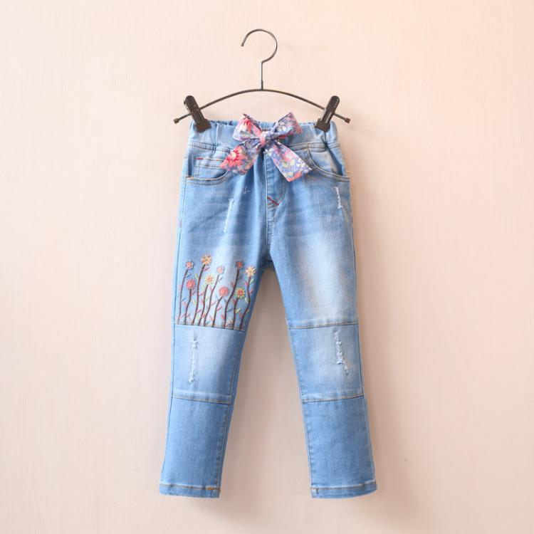 2016 Spring girl sunflowers bow  jeans wholesale childrens clothing<br><br>Aliexpress