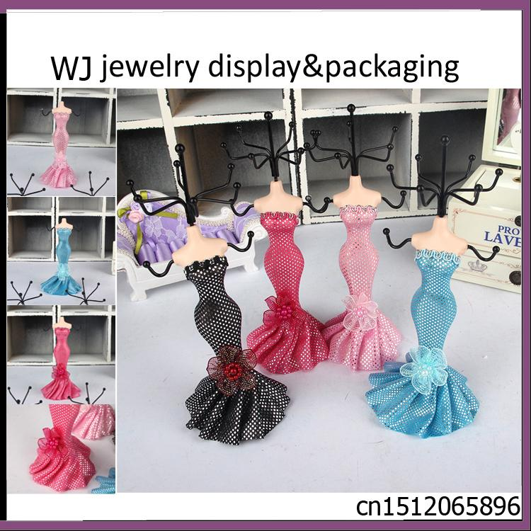 """Dress Mannequin Jewelry Presentation Elegant Earring Necklace Bracelet Chain Holder Stand Jewellery Display Organizer Case 7""""(H)(China (Mainland))"""