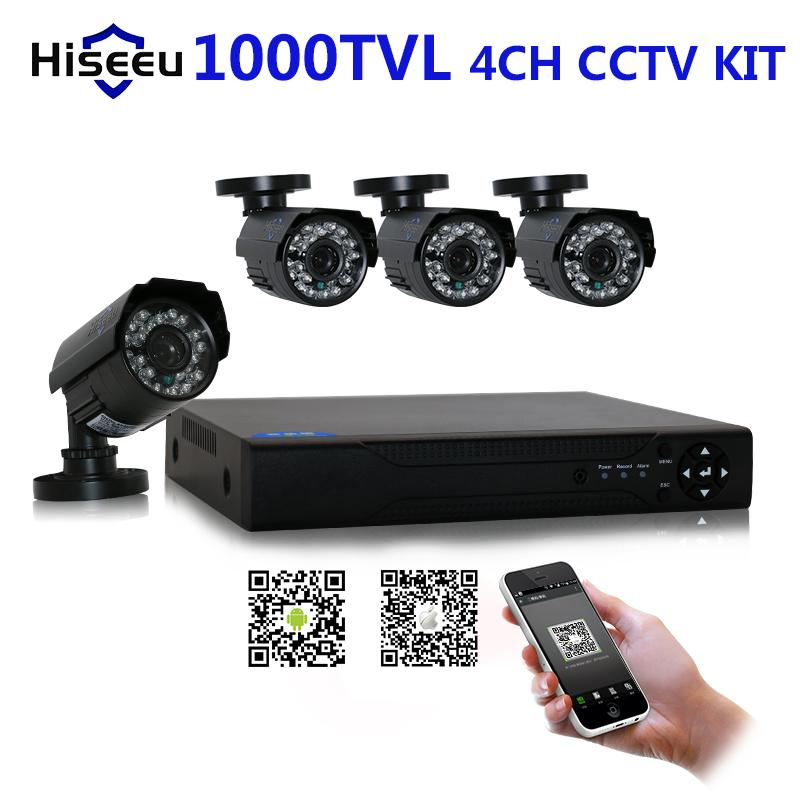 Здесь можно купить  4CH CCTV KIT System 960H DVR 1000 TVL IR bullet outdoor CCTV Surveillance Camera Security System HDMI free shipping   Безопасность и защита