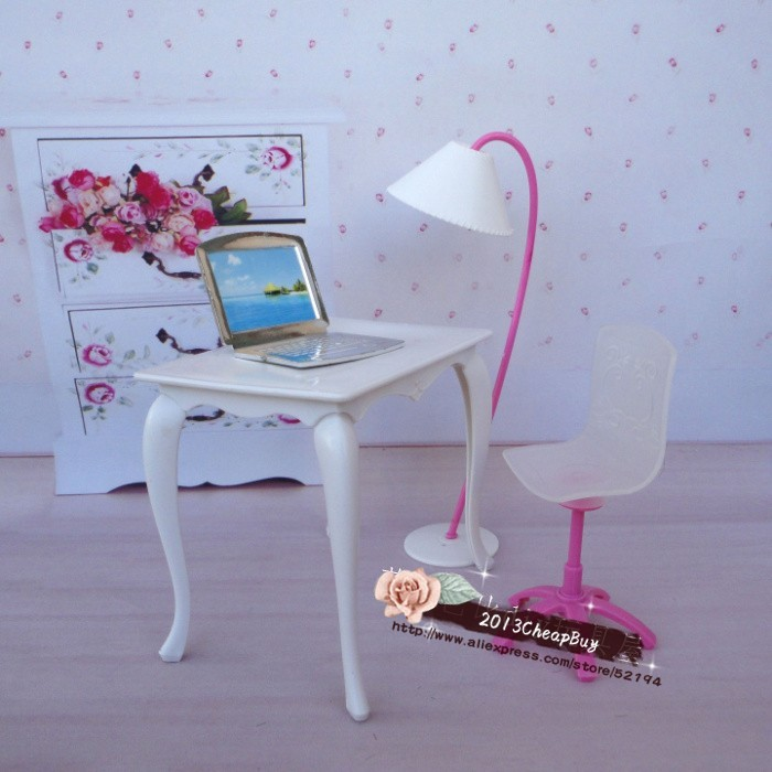 Free Transport,doll furnishings desk+lamp+laptop computer+chair equipment for Barbie Doll,women play home,dolls equipment