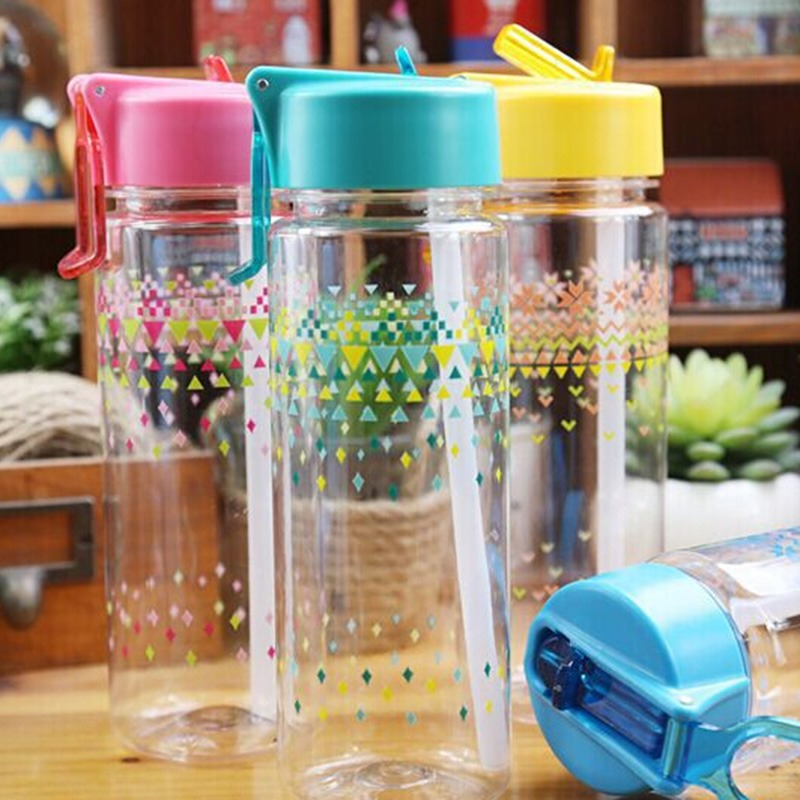 New Arrival 600ml Water Bottle Large Capacity Plastic Transparent Water Cups Portable Space Mug Straw Water Bottles(China (Mainland))