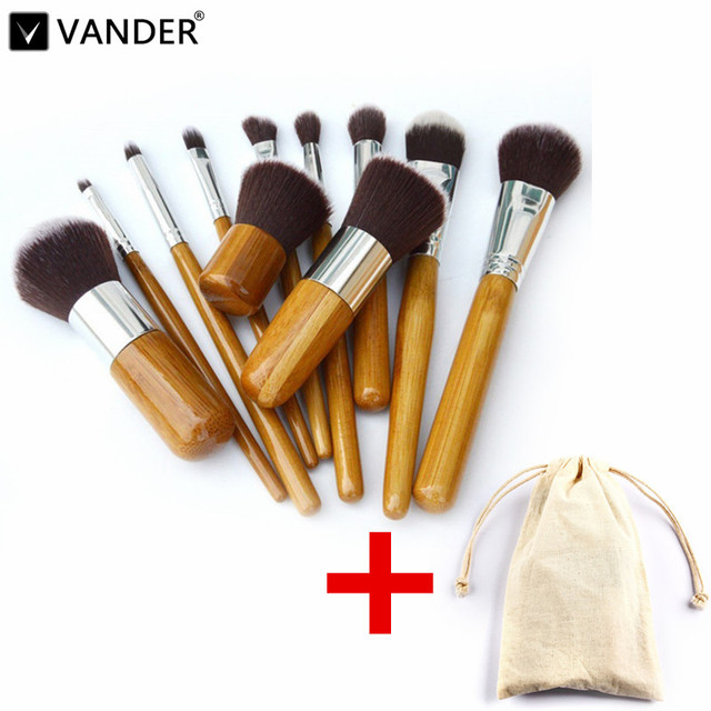 11Pcs Makeup Brushes Cosmetics Tools Natural Bamboo Handle Eyeshadow Cosmetic Makeup Brush Set Blush Soft Kit pincel maquiagem