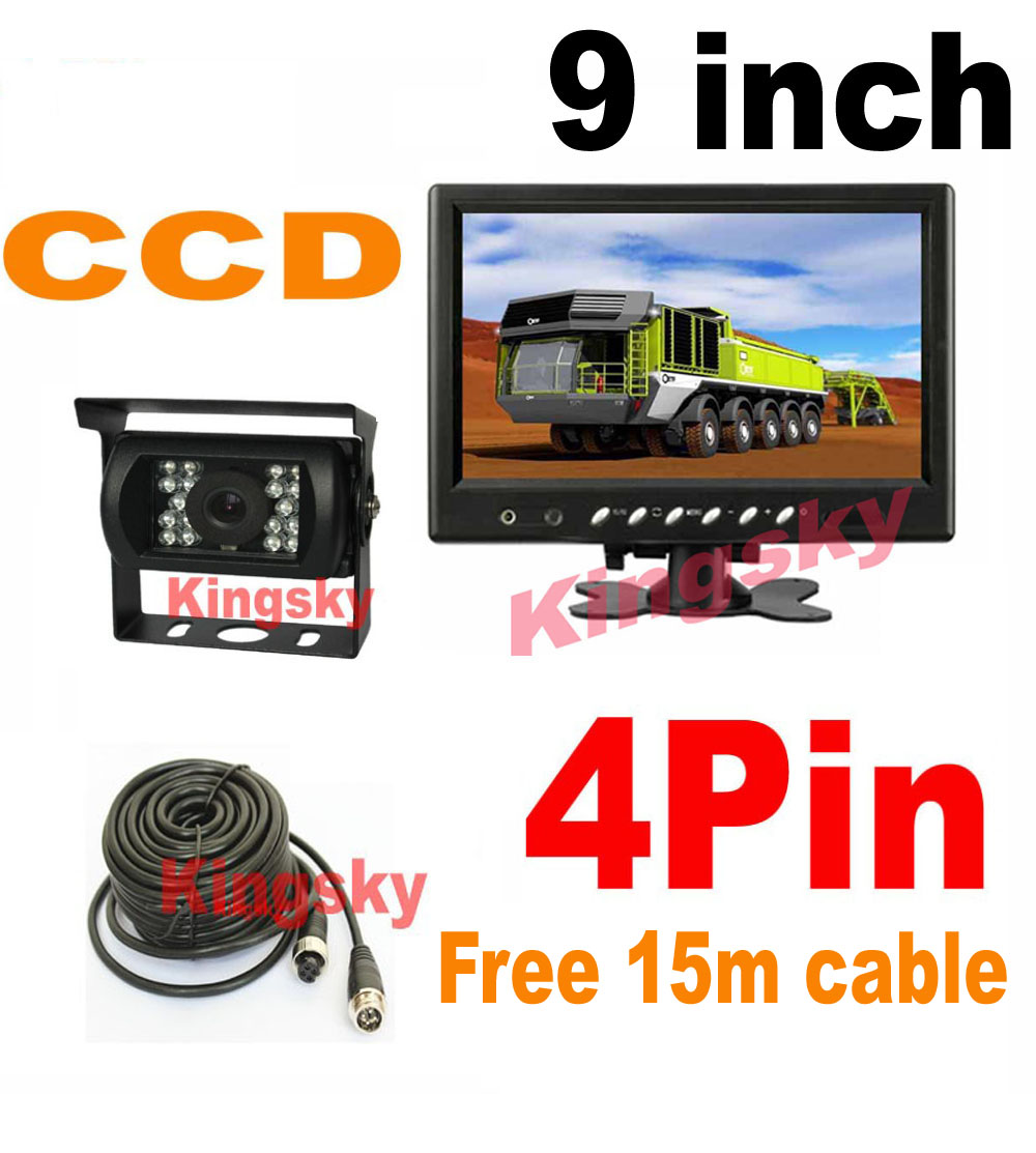 "9"" LCD Monitor + 4Pin 18 LED IR Night Vision CCD Car Rear View Reversing Camera 12V/24V 120 Degree for Bus Truck Motorhome Vans(Hong Kong)"
