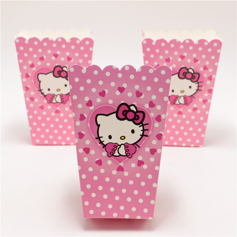 New 30pcs/lot Hello Kitty Party Supplies Popcorn Box Gift Box Favor Accessory Birthday Party Supplies Kids Event&Party Supplies(China (Mainland))