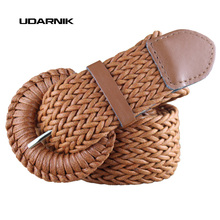 Buy Womens Ladies Wide Braided Belt Woven Pin Buckle Waistband Faux Leather Dress Belt Fashion Brown Black 200-324 for $8.54 in AliExpress store
