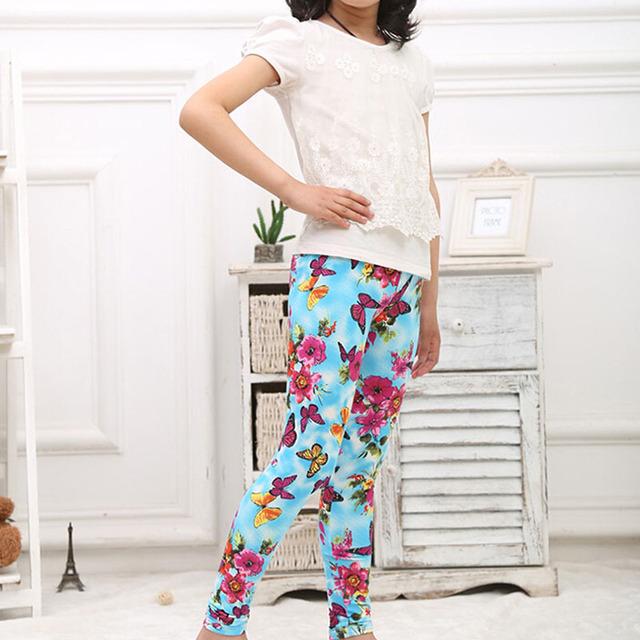 2015 мода голубая бабочка леггинсы леггинсы девушки свободного покроя эластичность леггинсы брюки гетры