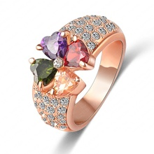 LZESHINE Brand Magic Heart Clover Zircon Ring Real 18K Rose Gold Plated Genuine SWA Element Flower Crystal Ring ITL-RI0092