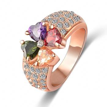 Lzeshine марка магия сердца клевер циркон настоящее 18 К роза позолоченные элемент ...
