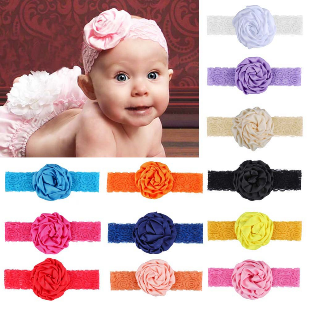 Hot New 2016 Hair Accessories Newborn Baby Girls Flower Headband Lace Soft Elastic Band Headwear Hair Accessories W1<br><br>Aliexpress