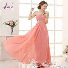 Floor-length Chiffon Long Evening Dress Gown 2015 Long Pink Design Formal evening dresses gown wedding party dress Fast Shipping(China (Mainland))
