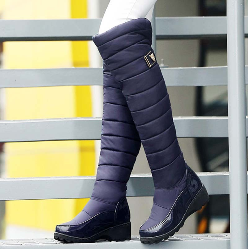 Warm winter Down Over-the-Knee boots shoes new wedges Fashion Round Toe snow boots platform  black girl blue long boots <br><br>Aliexpress