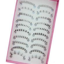10 Pairs Mix Size Natural Handmade Under Lashes False Eyelashes Makeup Soft Long Cross Lower Bottom Fake Eye Lashes Extension(China (Mainland))