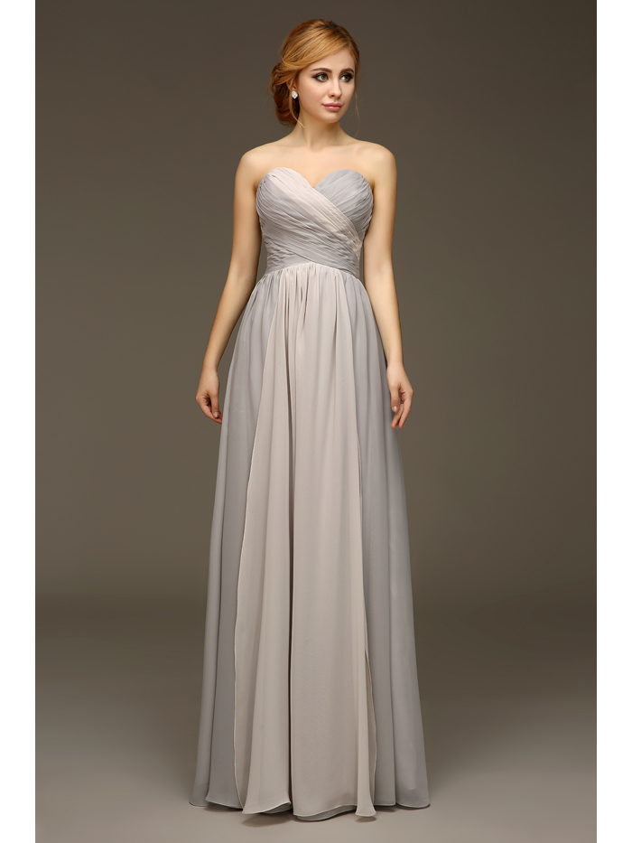 Real images long strapless bridesmaids dresses silver grey for Summer dresses for wedding party