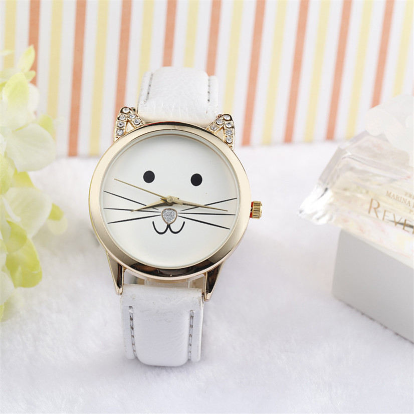 Hot Marketing Fashion Neutral Diamond Lovely Cats Face Faux Leather Quartz Watch MAY26(China (Mainland))
