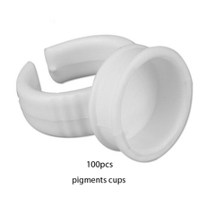 Free shipping Disposable ring cup tattoo pigments cups sponge tattooequipment and sent 100 white ring set ink holder