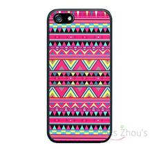 For iphone 4/4s 5/5s 5c SE 6/6s plus ipod touch 4/5/6 back skins mobile cellphone cases cover Aztec Pattern Print Pink Red