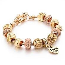 Hot Selling 2016 Heart Charm Bracelets & Bangles Gold Bracelets For Women DIY Pulsera Famous Brand Jewellery SBR150074(China (Mainland))