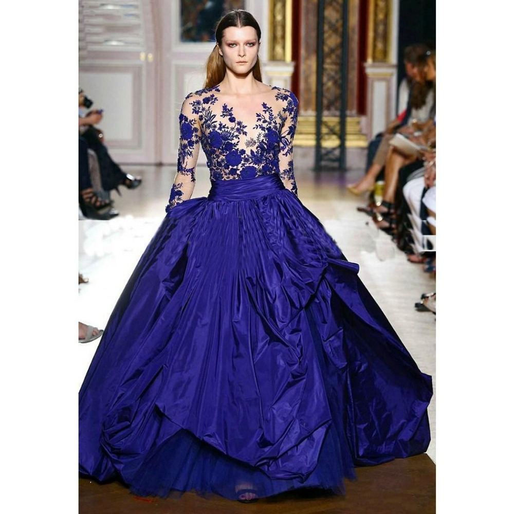 Turmec » long sleeve royal blue prom dresses