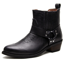 Free Shipping spring / autumn Genuine Leather Men's Work Ankle boots Martin boots British Style western cowboy boots for men