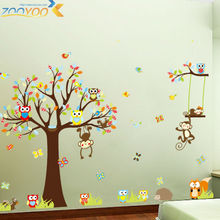 cute monkeys playing on trees wall stickers for kids rooms decorative adesivo de parede removable pvc wall decal diy zooyoo1212(China (Mainland))