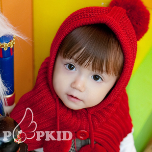 2015 Warm Winter Children Earmuffs Hats Cloak Elf Hat Little Red Riding Hood Cute Baby Knitted Hat Lace-up Cute Fuzzy Ball Cap(China (Mainland))