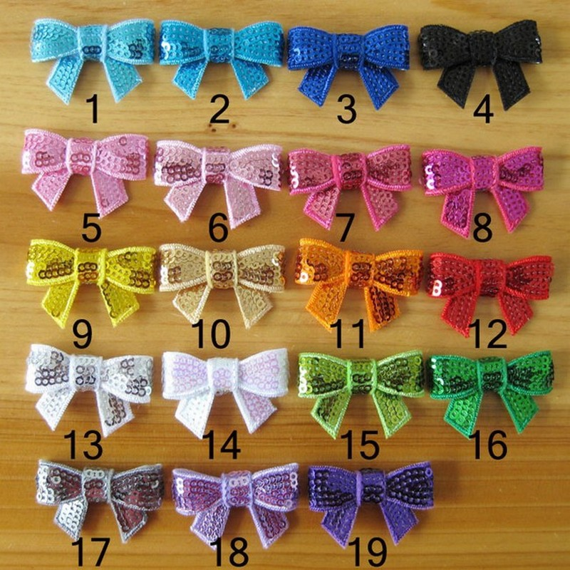 100pcs/lot New Style DIY Handmade 4cm Sequin Bows Solid Color Boutique Hair Bows Apparel Accessories Kids Hair Accessories(China (Mainland))