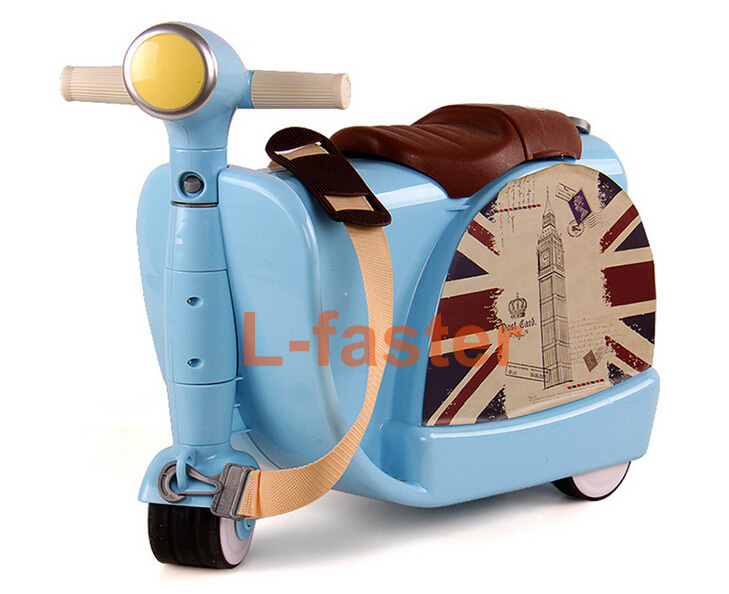 Child Rolling Travel Bag ABS Motorcycle Bag Children Wheel Luggage Scooter Toy Travel Baby Storage Box Rolling Kids Luggage(China (Mainland))