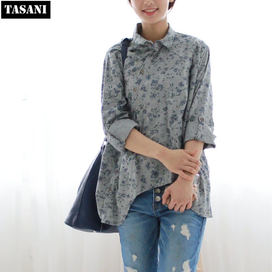 2015 Cotton Linen Women Shirts Vintage Slim Printed Loose Long Sleeve Plus Size Blouse Tops Woman Clothing V9053 - TASANI Fashion store