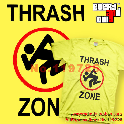 High Quality D.R.I. Thrash Metal Band Thrash Zone Logo 100% Cotton Printed Men's Women's Tee T-shirt Clothing USA(China (Mainland))