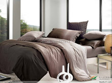 Quality cotton gradient coffee queen bedding sets 4/5pc with duvet/quilt cover bed sheet comforter sets bed linen set(China (Mainland))