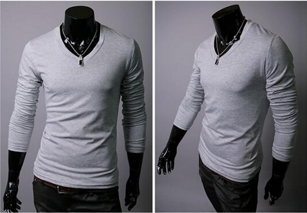Brand Men s Tops Tees 2015 Designer Brand Long Sleeve T Shirt Casual V Neck TShirt