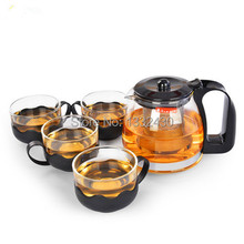 Free shipping + coffee & tea set + 700 ml transparent glass flowers teapot filtering teapot + 4cup 150ml