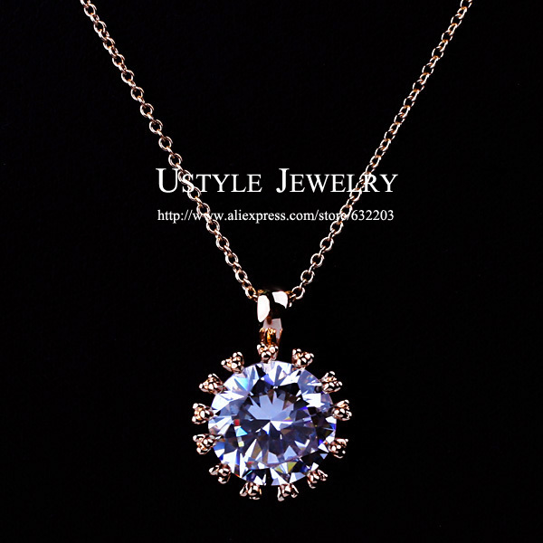 USTYLE JEWELRY 18K Real Gold Plated Big Sparkling Top Cubic Zirconia Diamond Pendant Necklace FREE SHIPPING(China (Mainland))