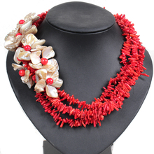 Fantastic Design Multi Strands Red Coral Chips and White Shell Flower Party Necklace(China (Mainland))