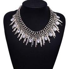 Hot Fashion 2015 XG166 Chunky Tassel Necklaces & Pendants Multi-layers Silver Bar Chain Choker Silver Tassel Gemstone Jewelry