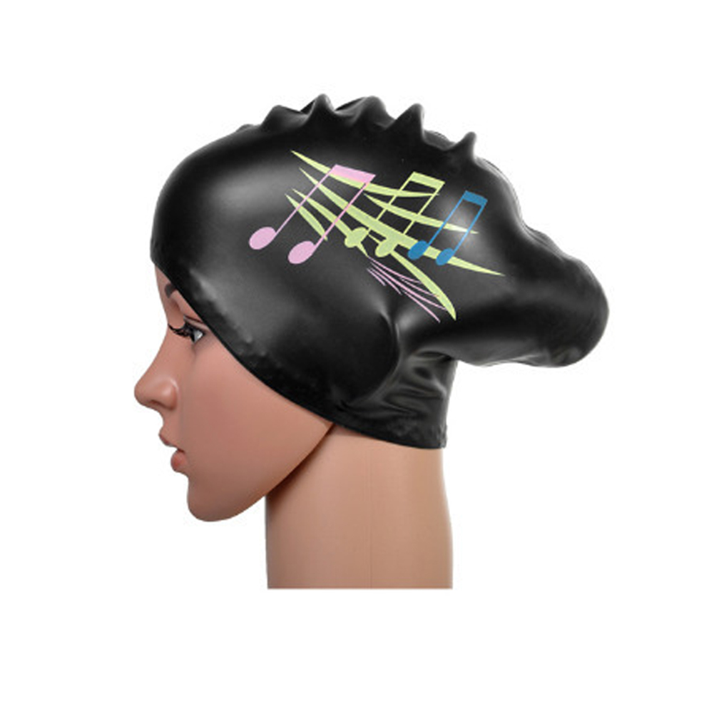 2016 Music Note Pattern Unique Long Hair Silicone Swimming Cap Swim Accessories(China (Mainland))