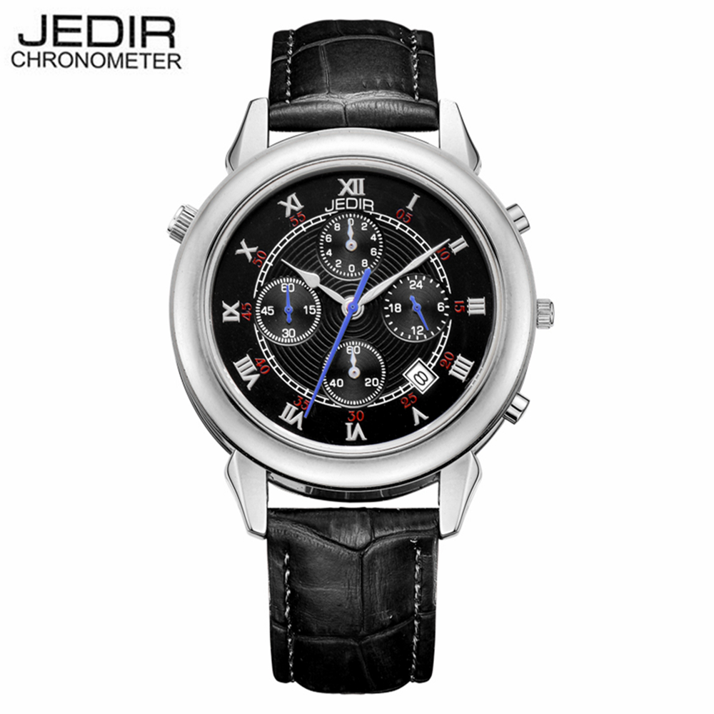 JEDIR Famous Design Running Watch Men Luxury Brand Japan Movt Quartz Watches Men's Quality Real Leather Strap Wrist watch Waches(China (Mainland))