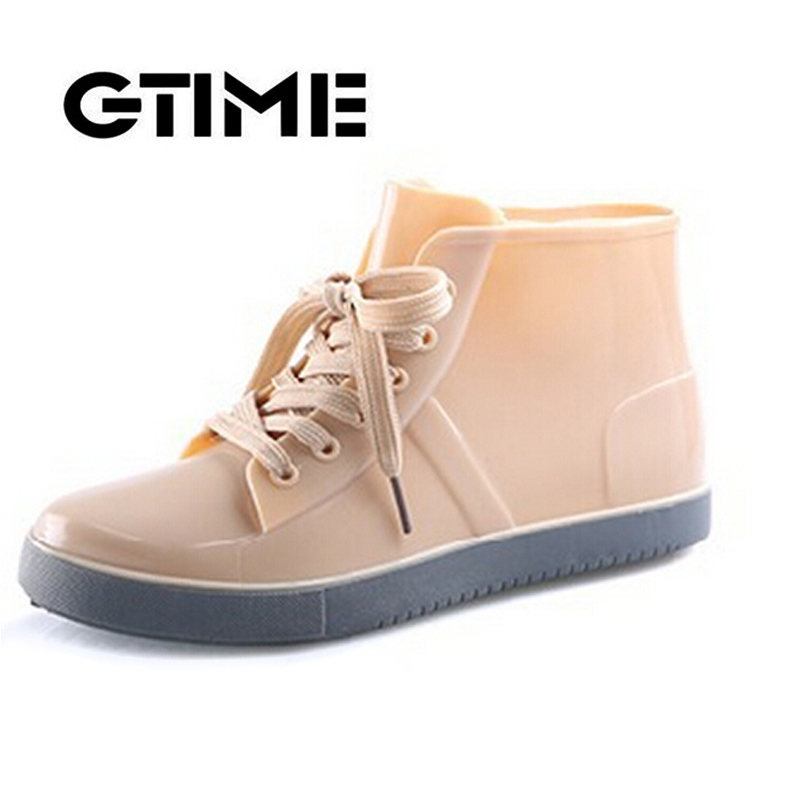 2015 Lace-Up Rain Boots Fashion Solid Ladies Flats Ankle Boots Casual Silver Women Boots Shoes Woman 4 Colors Size 35-40 #ZH3(China (Mainland))