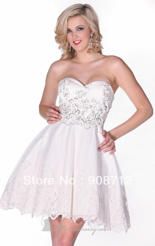 Hot Sell Mini Strapless Satin Fashion Short Wedding Dress