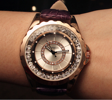 women's watches water proof 2016 New belt circular inner diamond 4 color promotional models brand luxury fashion ladies watch
