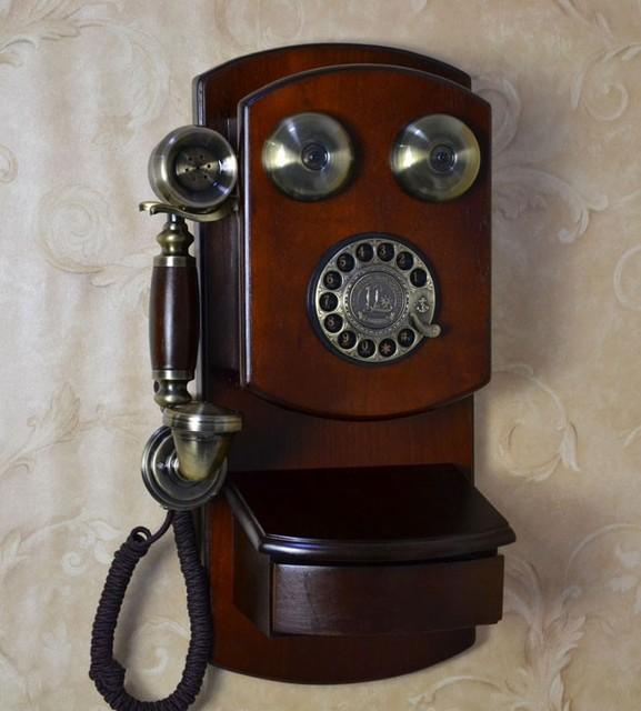 Legno antico telefono da parete di telefono vintage - Telefoni a parete ...