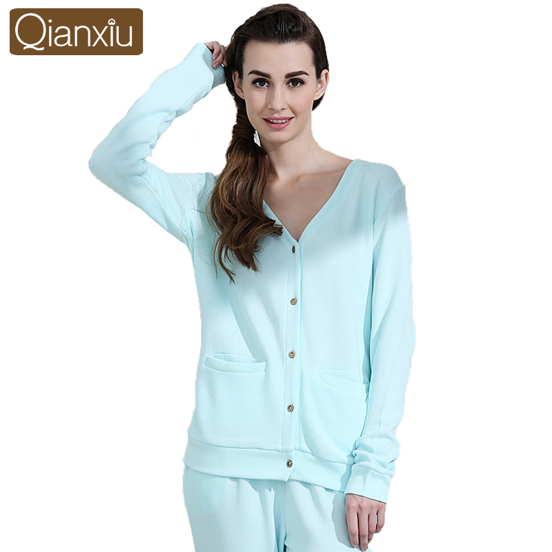Qianxiu Brand Pajama sets For Women Knitted Cotton HomeDress V-neck Sleepwear Suit Free ShippingОдежда и ак�е��уары<br><br><br>Aliexpress