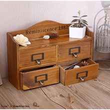 4 Drawers Vintage Solid Wood Antique Tabletop Cabinet(China (Mainland))