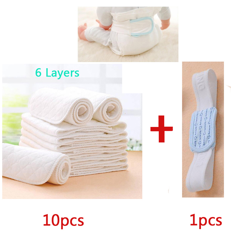 10pcs Reusable Breathable Cotton Newborn Baby Cloth Diaper Nappy Liners Inserts 6 Layers Plus 1 pc Infant Diaper fastening tape