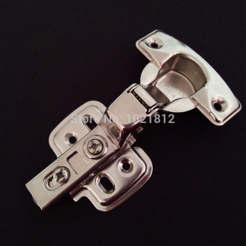 1 Pair Inset 1.5mm Thickness Hydraulic Cabinet Hinge 304 Stainless Steel Soft Close Brass Buffering Clip-on Base Hinge(China (Mainland))
